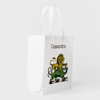 Heraldic Lion and Dragon Crest Emblem Reusable Grocery Bag