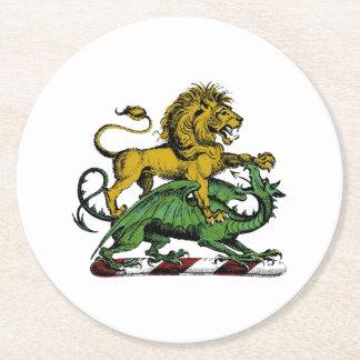 Heraldic Lion and Dragon Crest Emblem Round Paper Coaster