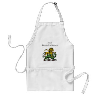 Heraldic Lion and Dragon Crest Emblem Standard Apron