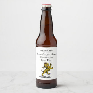 Heraldic Lion Standing Crest Emblem C Beer Bottle Label