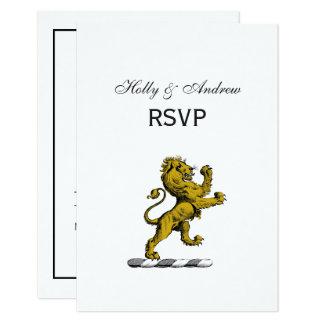 Heraldic Lion Standing Crest Emblem C Card