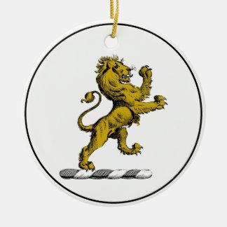 Heraldic Lion Standing Crest Emblem C Ceramic Ornament