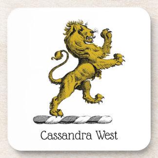 Heraldic Lion Standing Crest Emblem C Coaster