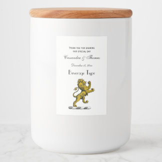 Heraldic Lion Standing Crest Emblem C Food Label