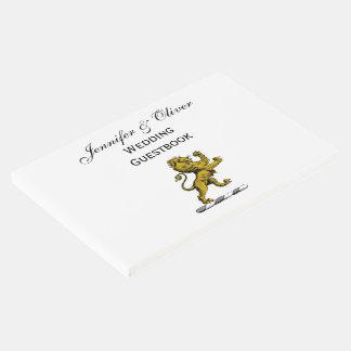 Heraldic Lion Standing Crest Emblem C Guest Book