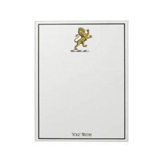 Heraldic Lion Standing Crest Emblem C Notepad