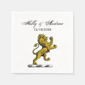 Heraldic Lion Standing Crest Emblem C Paper Napkin