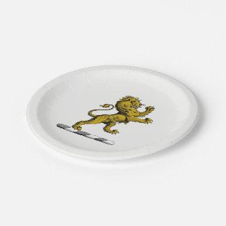 Heraldic Lion Standing Crest Emblem C Paper Plate