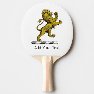 Heraldic Lion Standing Crest Emblem C Ping Pong Paddle
