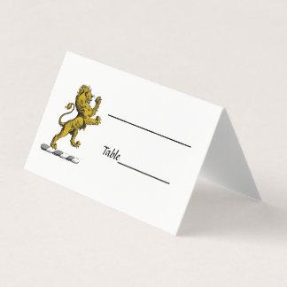 Heraldic Lion Standing Crest Emblem C Place Card