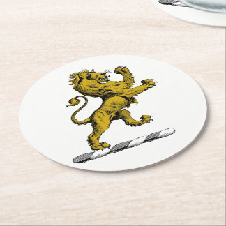 Heraldic Lion Standing Crest Emblem C Round Paper Coaster