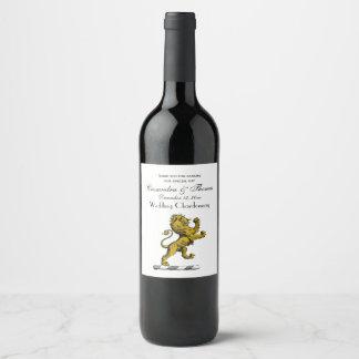Heraldic Lion Standing Crest Emblem C Wine Label