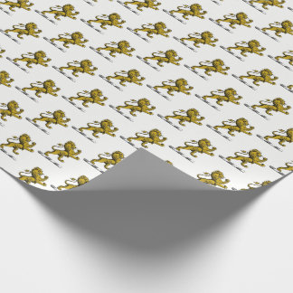 Heraldic Lion Standing Crest Emblem C Wrapping Paper