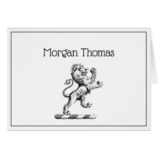 Heraldic Lion Standing Crest Emblem Card