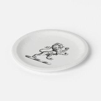 Heraldic Lion Standing Crest Emblem Paper Plate