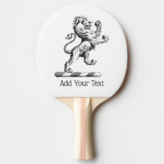 Heraldic Lion Standing Crest Emblem Ping Pong Paddle