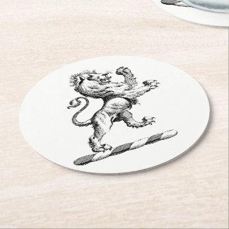 Heraldic Lion Standing Crest Emblem Round Paper Coaster