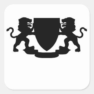 Heraldic Lions and Shield Square Sticker