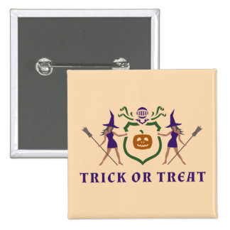 Heraldic Purple and Orange Halloween 2 Inch Square Button