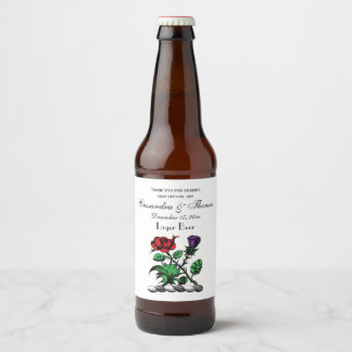 Heraldic Rose & Thistle Coat of Arms Crest Color Beer Bottle Label