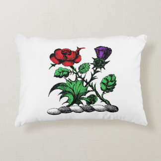 Heraldic Rose & Thistle Coat of Arms Crest Color Decorative Pillow
