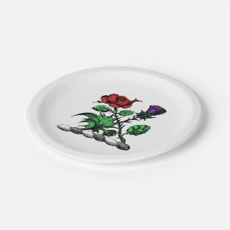 Heraldic Rose & Thistle Coat of Arms Crest Color Paper Plate