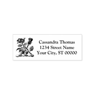 Heraldic Rose & Thistle Coat of Arms Crest Color Rubber Stamp