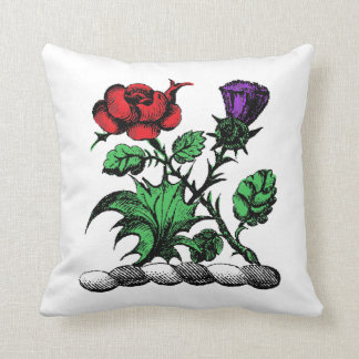 Heraldic Rose & Thistle Coat of Arms Crest Color Throw Pillow