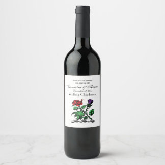 Heraldic Rose & Thistle Coat of Arms Crest Color Wine Label