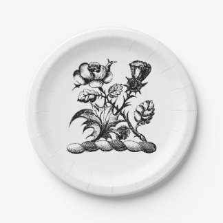 Heraldic Rose & Thistle Coat of Arms Crest Emblem Paper Plate