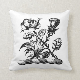 Heraldic Rose & Thistle Coat of Arms Crest Emblem Throw Pillow