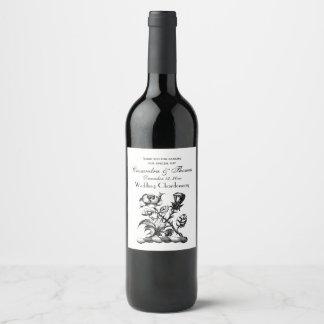 Heraldic Rose & Thistle Coat of Arms Crest Emblem Wine Label