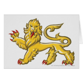 Heraldic symbol of lion statant guardant card