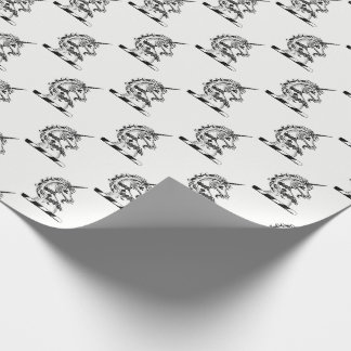 Heraldic Unicorn Head Coat of Arms Emblem Wrapping Paper