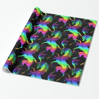 Heraldic Unicorn Rainbow Pattern Wrapping Paper