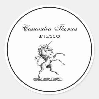Heraldic Unicorn Rearing Coat of Arms Emblem Classic Round Sticker