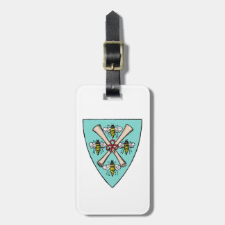 Heraldic Vintage 4 Bees Scrolls on Shield Crest TB Luggage Tag