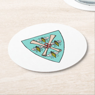 Heraldic Vintage 4 Bees Scrolls on Shield Crest TB Round Paper Coaster
