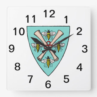 Heraldic Vintage 4 Bees Scrolls on Shield Crest TB Square Wall Clock