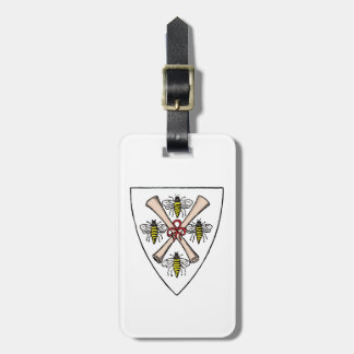 Heraldic Vintage 4 Bees Scrolls on Shield Crest Wt Luggage Tag