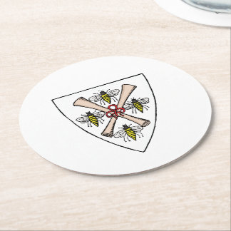 Heraldic Vintage 4 Bees Scrolls on Shield Crest Wt Round Paper Coaster