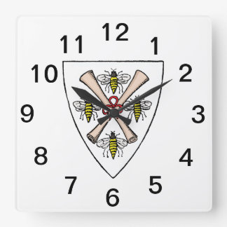 Heraldic Vintage 4 Bees Scrolls on Shield Crest Wt Square Wall Clock