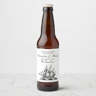 Heraldic Vintage Nautical Clipper Ship Crest Beer Bottle Label