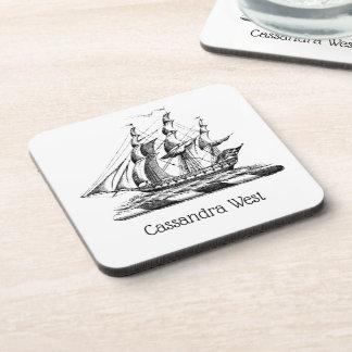 Heraldic Vintage Nautical Clipper Ship Crest Coaster