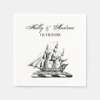 Heraldic Vintage Nautical Clipper Ship Crest Disposable Napkin