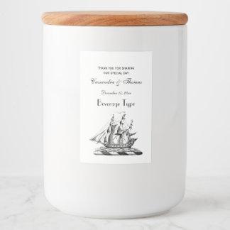 Heraldic Vintage Nautical Clipper Ship Crest Food Label