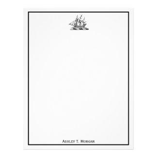 Heraldic Vintage Nautical Clipper Ship Crest Letterhead
