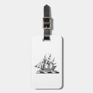Heraldic Vintage Nautical Clipper Ship Crest Luggage Tag