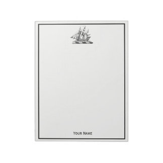 Heraldic Vintage Nautical Clipper Ship Crest Notepad