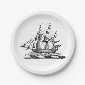 Heraldic Vintage Nautical Clipper Ship Crest Paper Plate